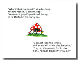 Pictures from The Frog Who Couldn't Jump, a children's picture book by award-winning author Dr. Hope.