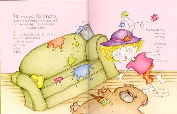 Pictures from Little Miss Contradiction, a children's picture book by award-winning author Dr. Hope.